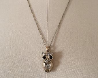 OWL necklace | adjustable chain necklace | rhinestone owl pendant necklace