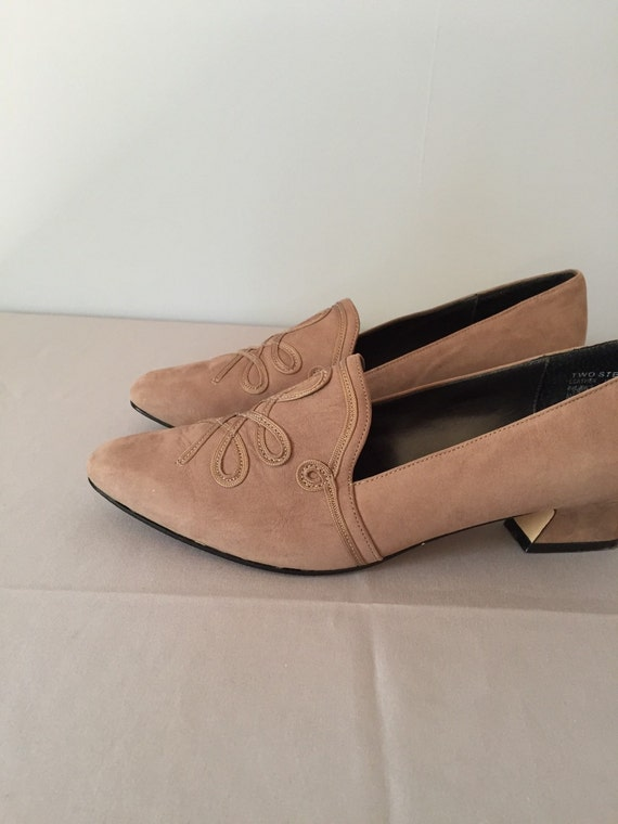 embroidery winged heels MUSHROOM 5 BROWN 8 pumps ribbon q6I6B7w