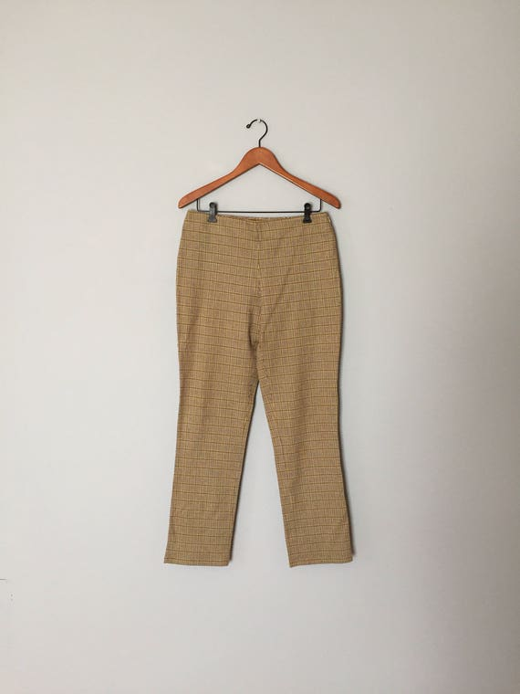 online sale united states cheap for sale Guess pants / plaid chartreuse guess cotton pants / plaid houndstooth  cropped skinny high waisted pants / medium