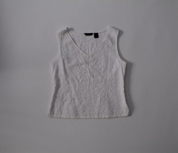 CHALK white cotton top | eyelet embroidered top |