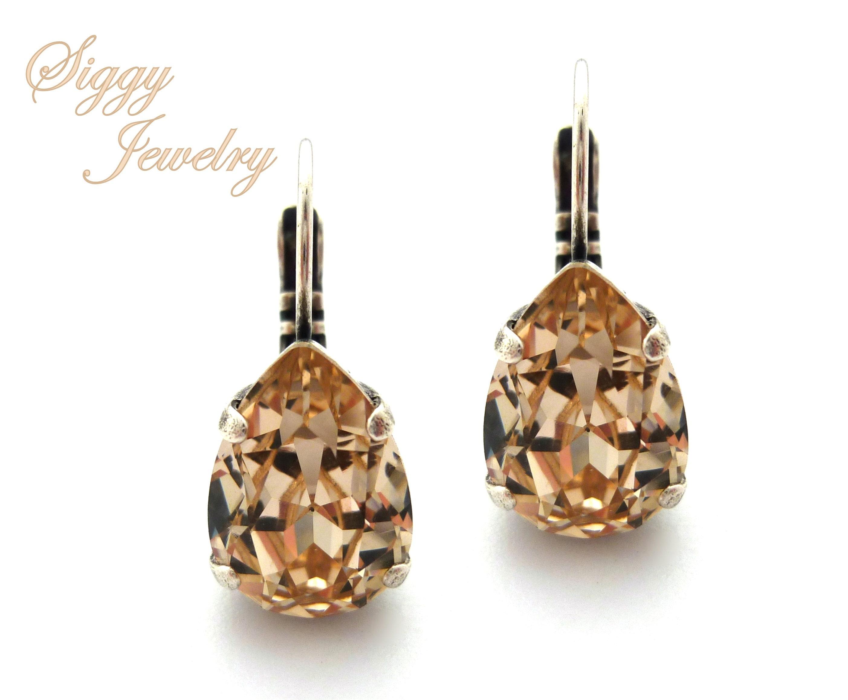 Swarovski Crystal Pear Shaped Earrings Light Silk Champagne