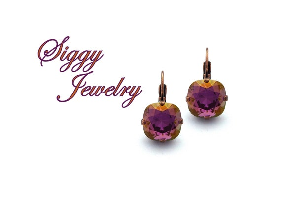 Earrings Purple Fractal Stainless 14mm Choice of 12mm Abstract Gift Purple Gift Idea 16mm Leverback or Post Style Abstract Jewelry