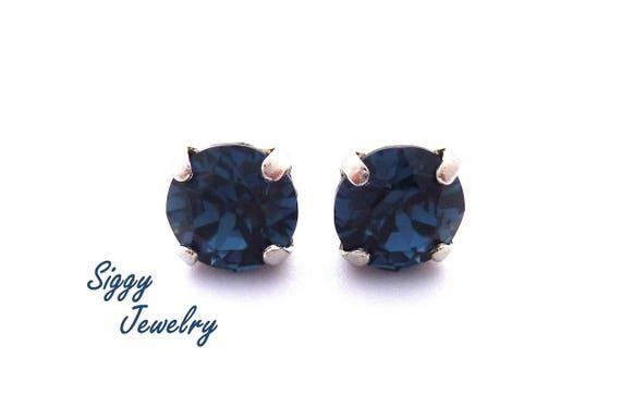 7b4ebd0f8043b Swarovski® Crystal Earrings, 8mm Dark Navy Blue, Montana, Studs or Drops,  Assorted Finishes, Several Shades of Blue, Birthstone Jewelry