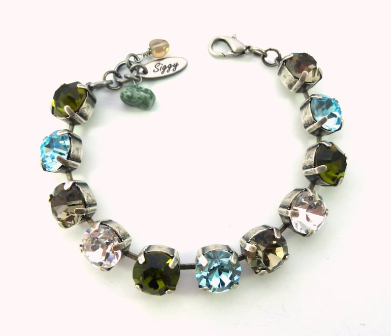 Chunky Crystals Black Diamond Cool Winter Colors Olive green Necklace or Set 11mm Aqua Blue 47ss Crystal Bracelet Clear Chatons
