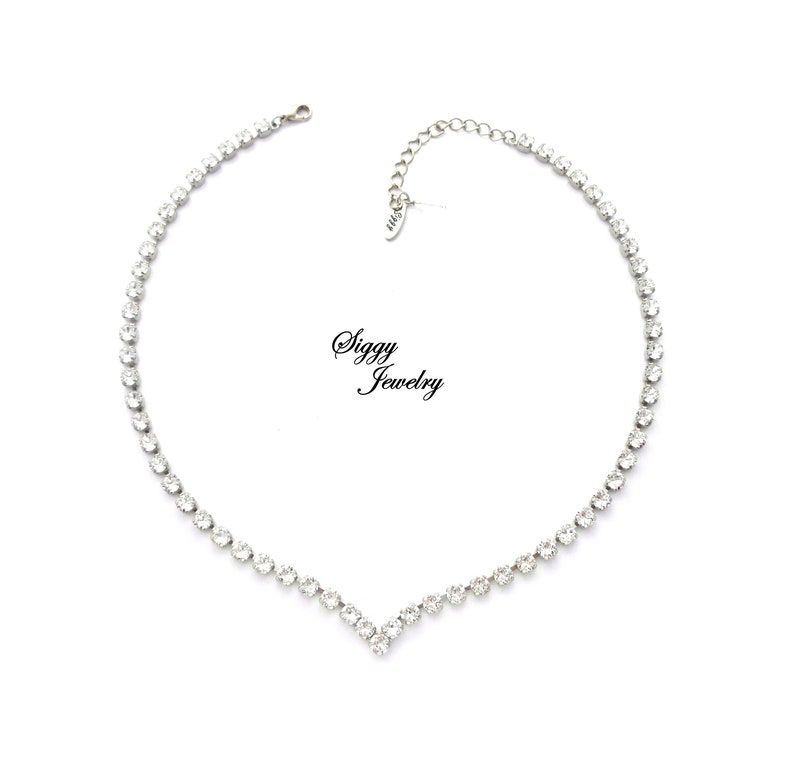 b08165657c36b2 Swarovski Crystal V Shape Bridal Collar Necklace Clear 5mm