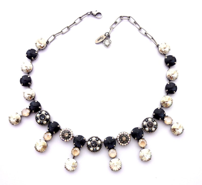 4099b8129e2fe Swarovski Crystal Collar Statement Necklace, Graphite, Charcoal, Ivory,  12mm Rivoli, Flower Embellished, Antique Silver Chain, HIGH SOCIETY