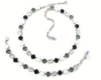 Swarovski Crystal Necklace, Tennis Bracelet Or Set, 8mm Jet Black, White Opal, Black Diamond, Clear, Wedding Jewelry, FREE SHIPPING