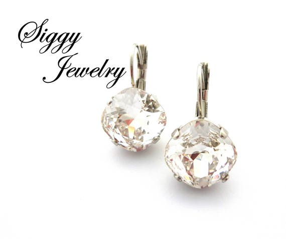 Threader earrings made with Clear AB Swarovski Crystal Elements .925 S Silver