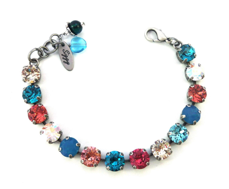 swarovski crystal tennis bracelet 8mm bright bold colors. Black Bedroom Furniture Sets. Home Design Ideas