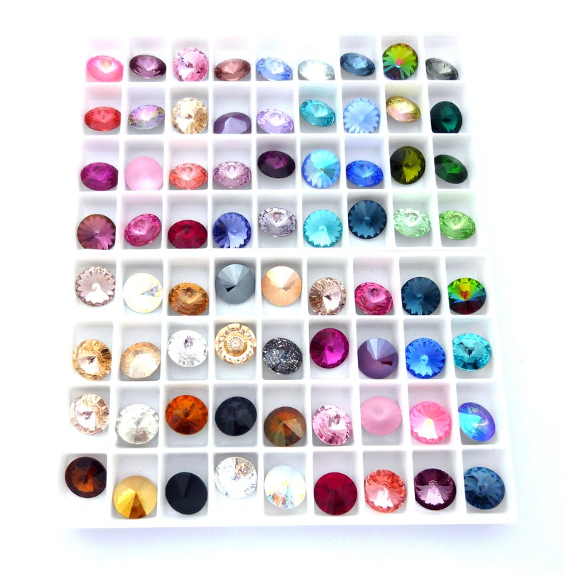 e1116ce2a95ce Swarovski Loose Crystals, 12mm Rivoli, Swarovski Item 1122, Round Foiled  Back, Assorted Sparkly Colors, DIY Jewelry Supplies, Packs of 2