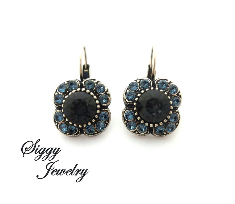 ab6d265f5123 Swarovski Crystal Flower Earrings Graphite Charcoal Gray and