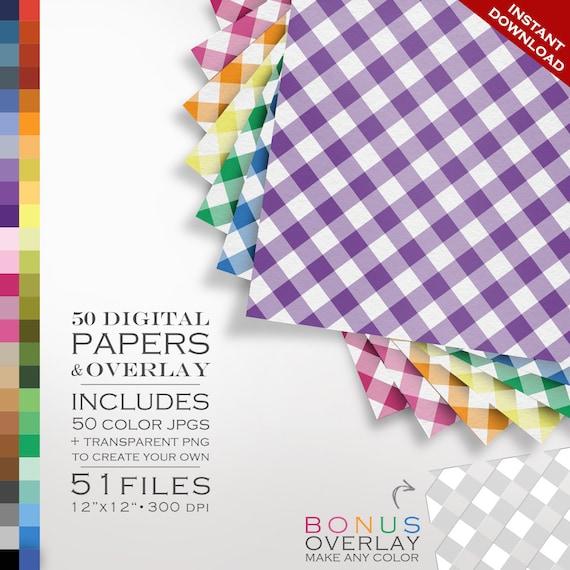 80 Off Sale Digital Scrapbook Gingham Paper Pack 50 Colors Etsy