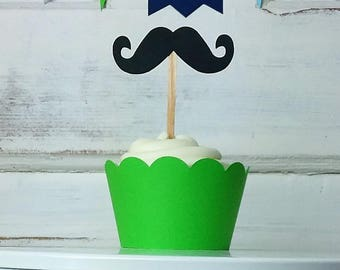 Mustache Cupcake Toppers, Cupcake Topper, Cupcake Wrappers