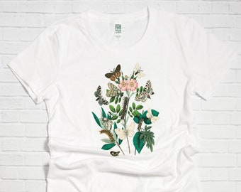 c874caeb3e62 Butterflies and Flowers Organic Cotton Women's T Shirt - Botanical Graphic  Tee - Gift for Her - Mother's Day Gift