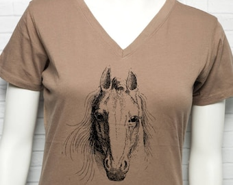 Horse Face 100% Certified Organic Cotton Women's V-Neck T-Shirt Earth Tones Herbivore Herbivorous Farm Animal Rights Cowgirl