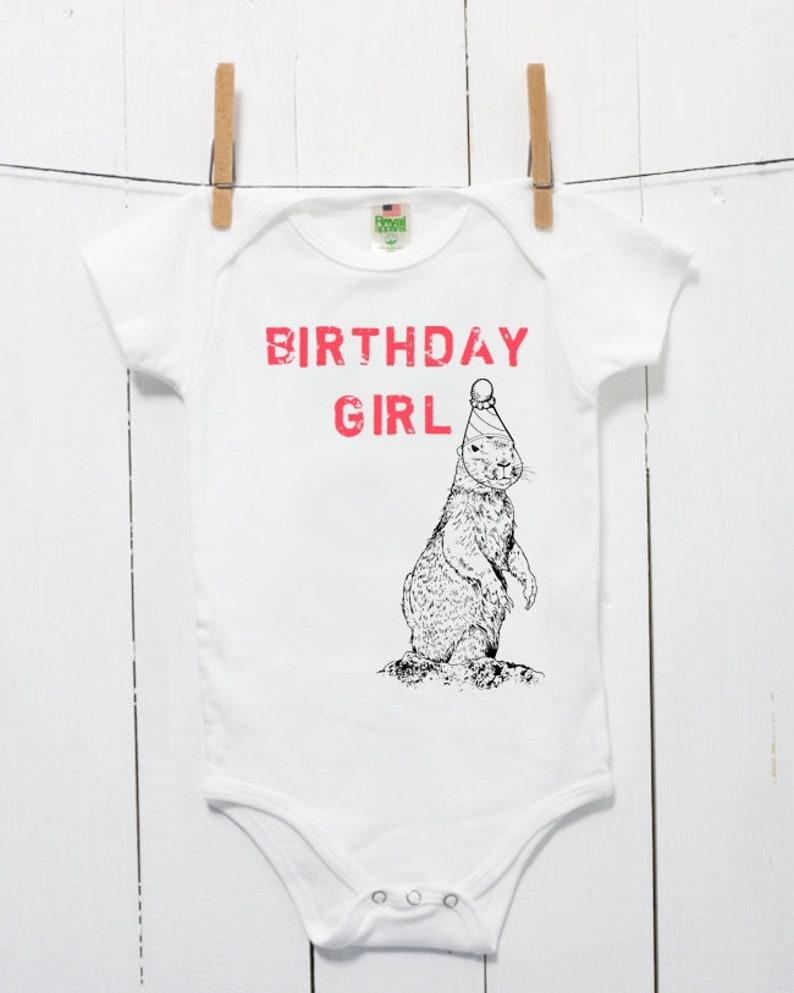 e547ad3fa0b6 1st Birthday Girl Bodysuit Prairie Dog Organic Cotton Baby