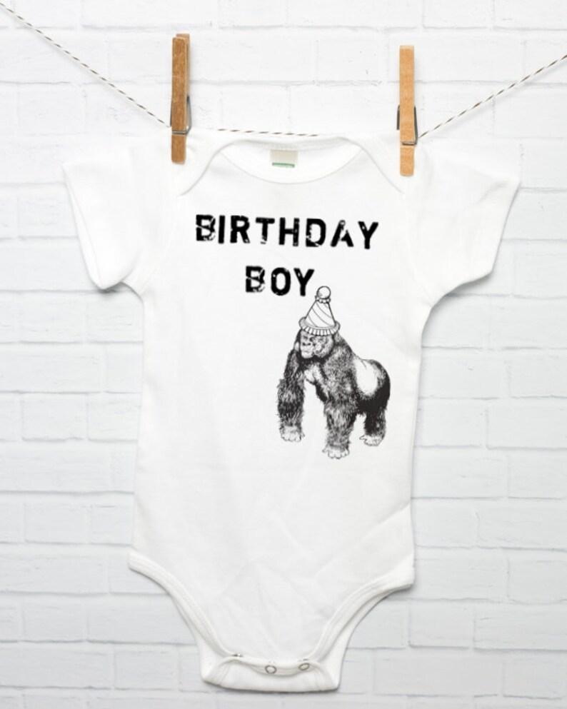 3cdf75cf11c5 1st Birthday Boy Organic Cotton Baby Bodysuit with Gorilla in
