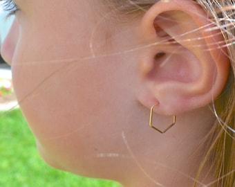 32f2fe6c34433 Gold hexagon hoops | Etsy