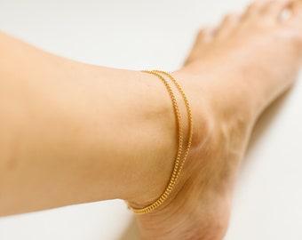 Ankle chain Real gold nacre filled 14 k eye protection foot jewel ankle chain boho gift woman ankler France