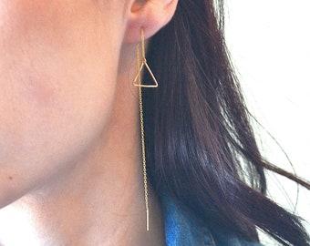 sterling silver earrings Modern gemstone threader earrings Minimalist Earrings Aurora Geometric earrings moonstone gold filled earrings