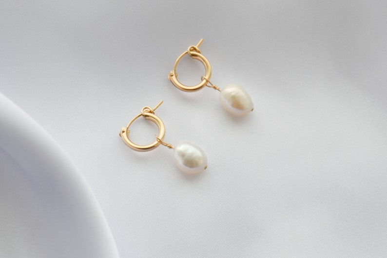 Thick Hoops Classic 14k Gold Filled Small Pearl Hoops Pearl Gold Pearl Charm Earrings Gift For Her Hoop Earrings Minimalist