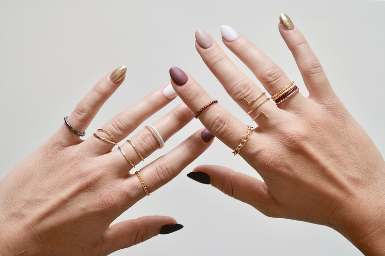 Chain Stacking Ring Layering Stackable Rings Thin Chain Rings 14k Gold Filled Curb Chain Ring Gold-filled Sterling Silver Ring