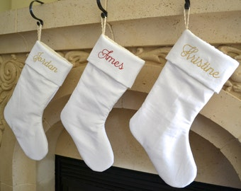 Personalized White Linen Christmas Stocking - Monogrammed White Linen Stocking