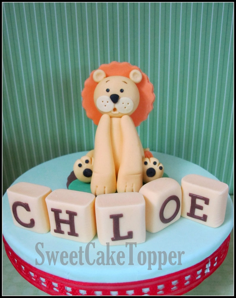 Edible Lion Name Block Set Birthday Cake Decoration Icing Topper