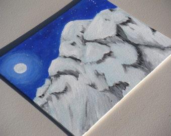 SALE! Snowy Mountain Painting - ORIGINAL PAINTING