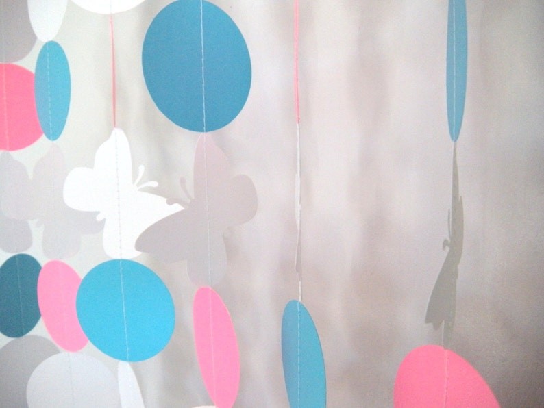 Ten 3 Foot Strands Pink and Blue Butterfly Birthday Party Paper Garland Gender Reveal