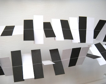 Wedding Paper Garland - Black and White Rectangle Garland