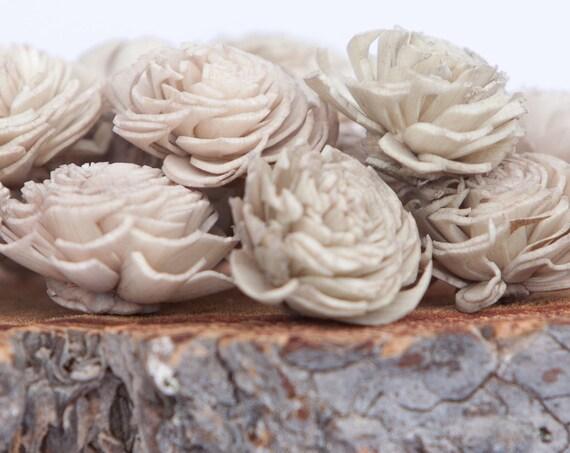 Tan Mini Chorki Flowers - Set of 15 , tan mini chorki sola flowers, sola flowers, balsa wood flowers, balsa wood sola flowers