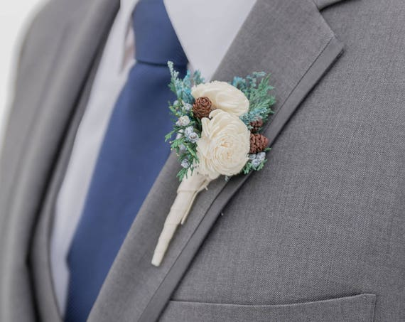 Blue Winter Boutonniere, Rustic Wedding Boutonniere - Blue Pin On Boutonniere