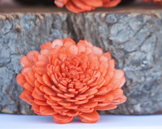 Orange Zinnia Sola Flowers - SET OF 10 , Sola Flowers, Balsa Wood Flowers, Sola Wood Flowers, DIY craft flowers, Sola wood flowers