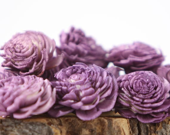 Purple Chorki Sola Flowers - Set of 10 ,  Plum Sola Flowers, Wood Sola Flowers, Chorki Sola, Balsa Wood Flowers, Craft Flowers, Sola