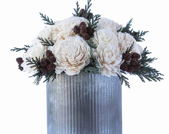 Farmhouse Winter Flower Arrangement