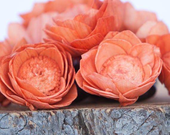Orange Camellia Sola Flowers- SET OF 10 , Orange Sola Flowers,  Wood Sola Flowers, Camelia Sola, Wedding DIY, Orange Crafting Flowers, Craft