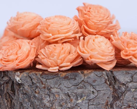 Peach Mini Chorki Flowers - Set of 15 , peach mini chorki sola flowers, sola flowers, balsa wood flowers, balsa wood sola flowers, flowers