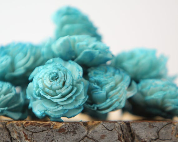 Teal Mini Chorki Flowers - Set of 15 , teal mini chorki sola flowers, sola flowers, balsa wood flowers, balsa wood sola flowers, teal flower
