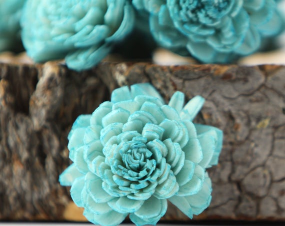 Teal Belly Sola Flowers - SET OF 10 , Teal Sola Flowers, Wood Sola Flowers, Belli Sola, Balsa Wood Flowers, Sola Flowers, DIY wedding flower