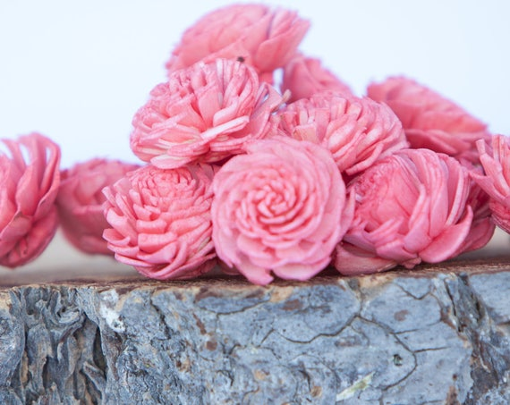 Watermelon Mini Chorki Flowers - Set of 15 , Pinkish Coral mini chorki sola flowers, sola flowers, balsa wood sola flowers