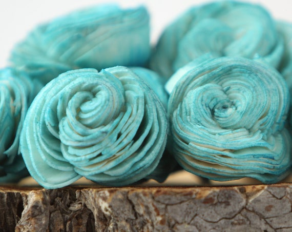 Teal Sola Shell Flowers - SET OF 10 , Teal Sola Flowers, Wood Sola Flowers, Balsa Wood Flowers, Wedding DIY, Craft Flowers, Shell flower