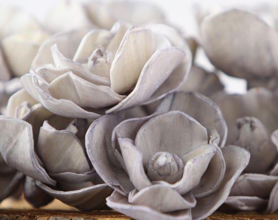 Grey Sola Magnolia Flowers- SET OF 10 , Gray Sola Flowers,  Grey Wood Sola Flowers, Magnolia Sola, Balsa Wood Flowers, craft flowers, DIY