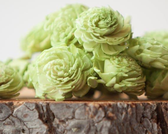 Green Mini Chorki Flowers - Set of 15