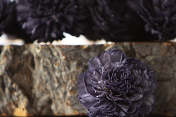 Navy Blue Carnation Sola Flowers - SET OF 10 , Sola Flowers, Navy Wood Sola Flowers, Navy Carnation Sola, Balsa Wood Flower, Craft Flowers
