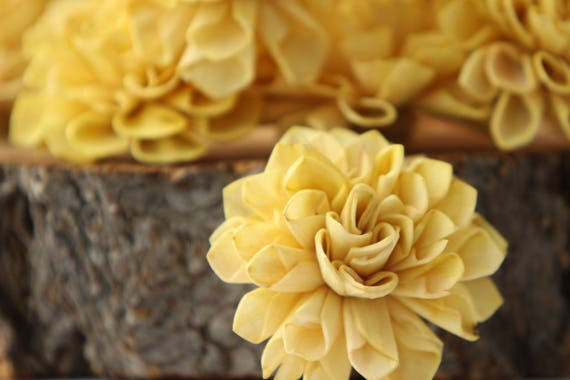 Mustard Yellow Dahlia Sola Flowers - Set of 10, Folded Sola FLowers, Sola Flowers, Sola Flower, Wood Sola Flowers, Balsa Wood Flowers