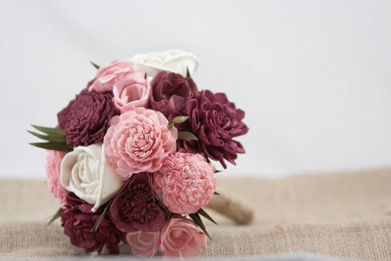 Burgundy and Blush Pink  Sola Flower Bridesmaid Bouquet, Wedding Bouquet, Sola Flower Bouquet