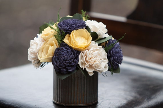 Small Mustard Yellow and Navy Farmhouse Sola Flower Arrangement