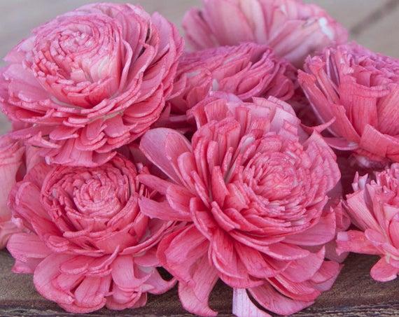 Watermelon Chorki Sola Flowers - SET OF 10 , Pinkish Coral Chorki, Sola, Chorki Sola, Balsa Wood Flowers, Wedding DIY, Craft Flower