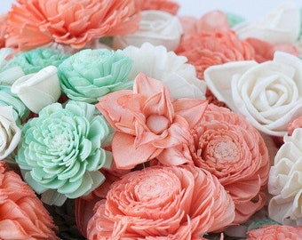 193e846c6 Coral and Mint Sola Flower Mix - Available in sets of 45 and 100